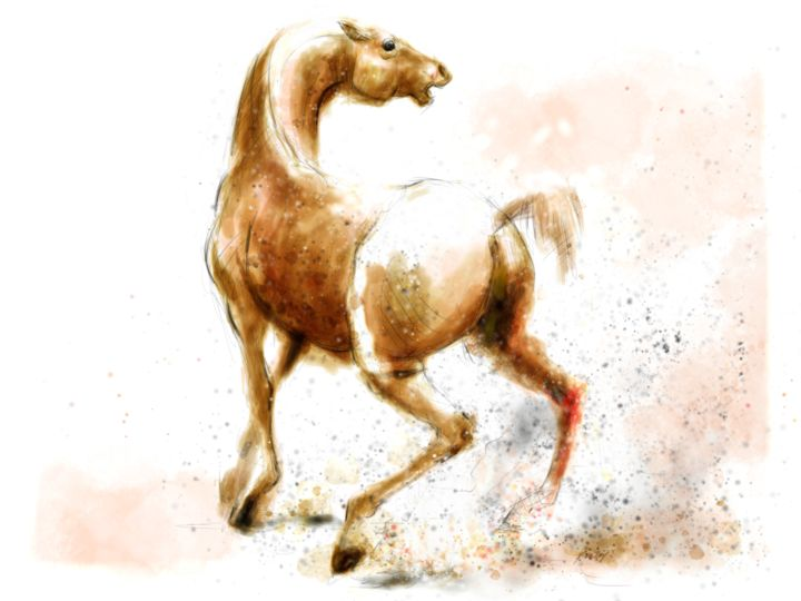 Horse 24 Wild - Digital Arts, ©2020 by Michel Thiery (By Daesyl arts) -                                                                                                                                                                                                                                                                                                                                                                                                                                                                                                                                                                                          Figurative, figurative-594, Animals, artwork_cat.Horses, Light, Nature, horse, horse art, horse artiste, dressage horse, horse lover, wild horse