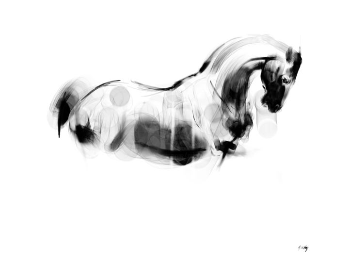 Horse 26 - Digital Arts, ©2020 by Michel Thiery (By Daesyl arts) -                                                                                                                                                                                                                                                                                                                                                                                                                                                                                                                                                                                          Figurative, figurative-594, Animals, artwork_cat.Horses, Light, Nature, Horse, horse art, horse artist, horse lover, contemporary art, black and white