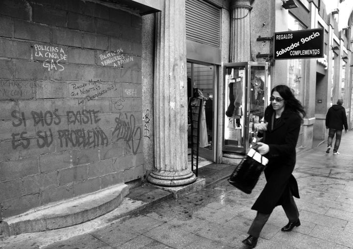 """Madrid """"Si dios existe"""" - Photography,  8.3x11.6 in, ©2014 by Michel VOLLE -"""
