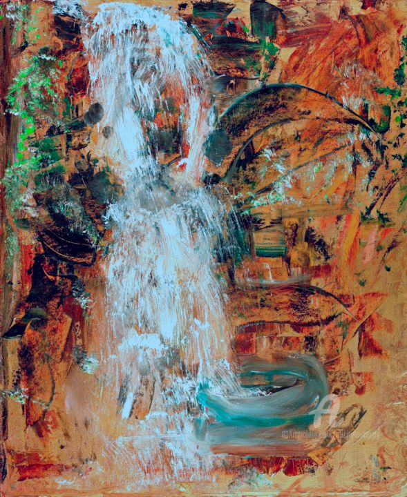 The Oriental Waterfall - Malerei,  10x8 in, ©2005 von Michela Curtis -                                                                                                                                                                                                                                                                                                                                                                                                          Abstract, abstract-570, Natur, waterfall, nature, fengshui, oriental, green