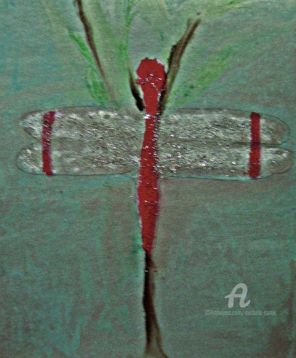 The Dragonfly - Pittura,  12x10x0,5 in, ©2016 da Michela Curtis -                                                                                                                                                                                                                                                  Animali, green, red, white, silver