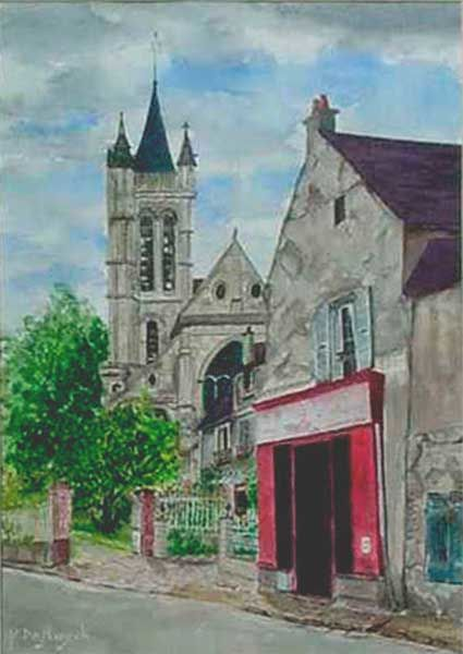 eglise du vieux Goussainville - Painting,  16.1x11.4 in, ©1999 by Michel De Ruyck -                                                                                                                                                                                                                          Figurative, figurative-594, Cities, aquarelle paysage eglise vieux goussainville val d'oise vieille maison village