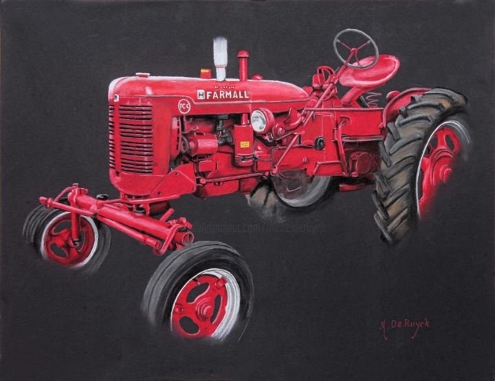 tracteur-farmall.jpg - Painting,  19.7x25.6 in, ©2015 by Michel De Ruyck -                                                                                                                                                                                                                                                                                                                  Figurative, figurative-594, Automobile, Rural life, tracteur, Farmall