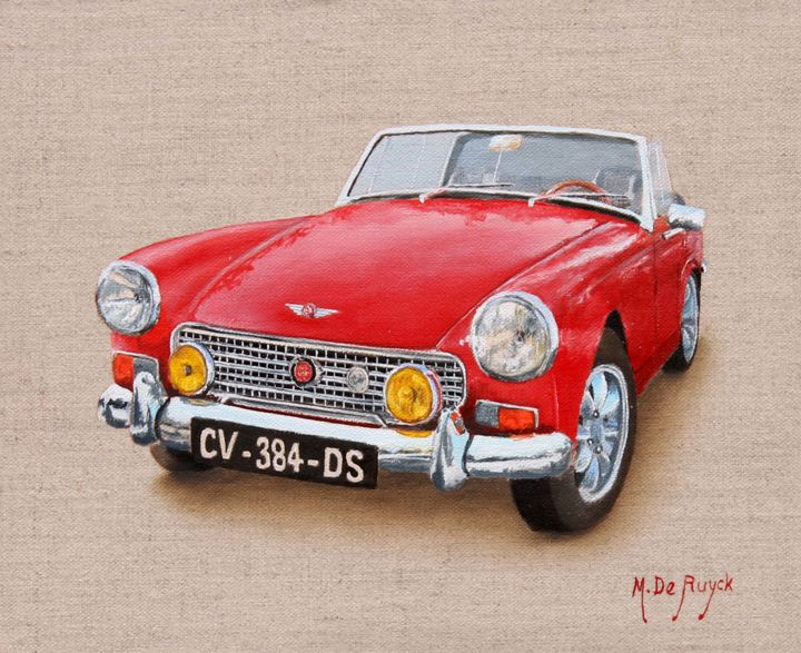 austin-healey.jpg - Painting,  8.7x10.6 in, ©2015 by Michel De Ruyck -                                                                                                                                                                                                                                                                                                                                                                                                              Figurative, figurative-594, Wood, Canvas, Automobile, Car, Austin, Healey