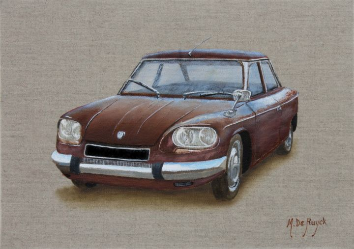 voiture-ancienne-Penhard 24BT - Painting,  7.5x10.6 in, ©2016 by Michel De Ruyck -                                                                                                                                                                                                                                                                                                                                                                                                              Figurative, figurative-594, Wood, Canvas, Automobile, Car, voiture ancienne, penhard