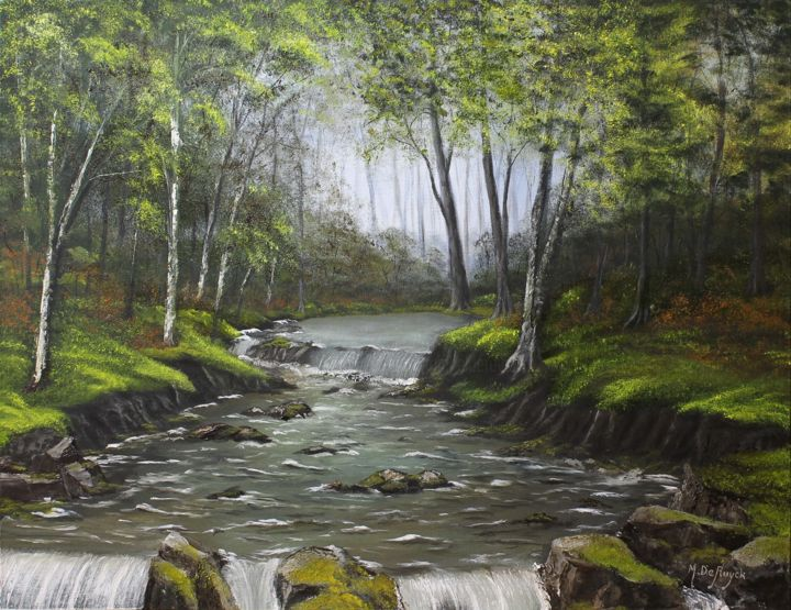 torrent en forêt - Painting,  50x65 cm ©2016 by Michel De Ruyck -                                                        Figurative Art, Canvas, Landscape