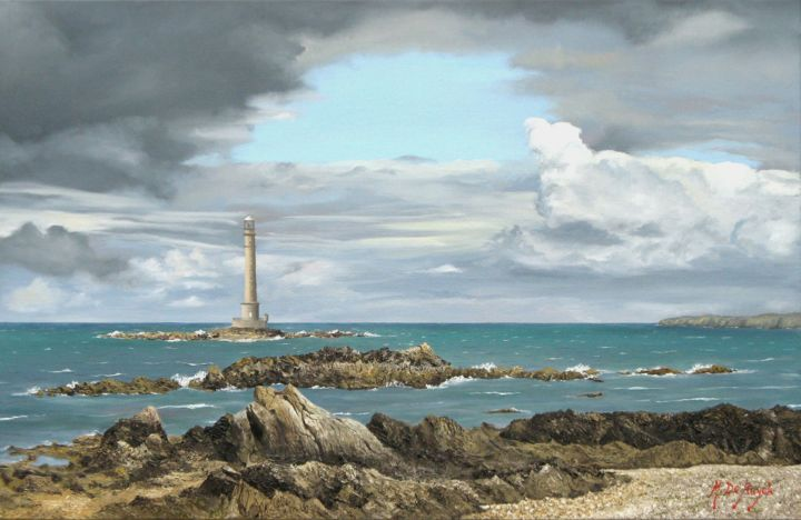 Couleurs du Cotentin - Painting,  65x100 cm ©2011 by Michel De Ruyck -                                                                        Figurative Art, Realism, Canvas, Seascape, Cotentin, La Hague