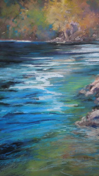 et-la-riviere-coule.jpg - Painting,  70x50x1 cm ©2019 by Michèle BRONNER -                                        Environmental Art, Water
