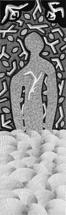 Emergence - Drawing,  50x15 cm ©2017 by michèle caranove -                                                                                                                                                            Outsider Art, Environmental Art, Conceptual Art, Naive Art, Paper, Tree, Outer Space, Water, Nature, Black and White, Landscape, noir et blanc, black and white, drawing, dessin, trait, humanisme, graphisme, emergence