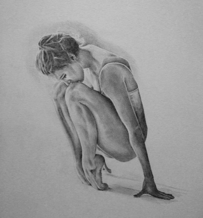 Sans titre - Drawing,  30x30 cm ©2017 by Michèle Rais -                                                            Figurative Art, Paper, Performing Arts, danse, femme