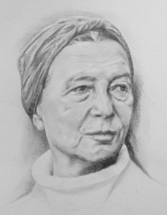 Simone de Beauvoir - Drawing,  40x30 cm ©2017 by Michèle Rais -                                                            Figurative Art, Paper, Portraits, Ecrivains, portrait