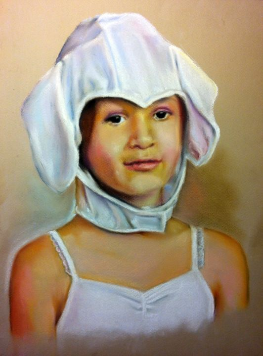 "Série ""Portraits enfants"" - Painting,  40x30 cm ©2016 by Michèle Rais -                                            Figurative Art, Portraits, portrait, enfant"