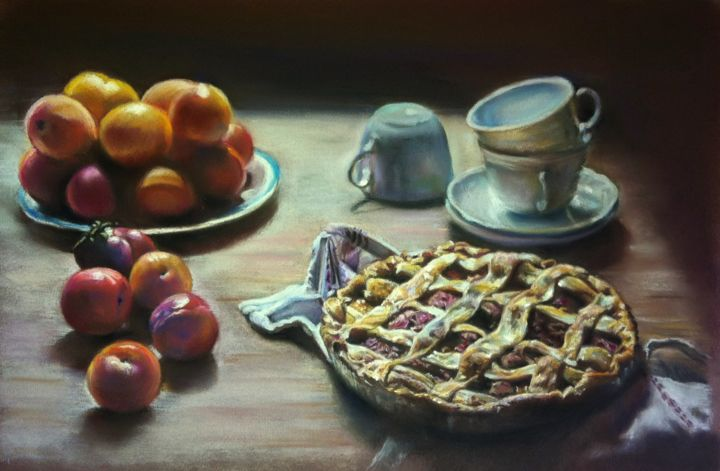 Nature morte aux prunes - Painting,  32x50 cm ©2016 by Michèle Rais -                                                            Figurative Art, Paper, Still life, prunes, goûté, tarte, tasse