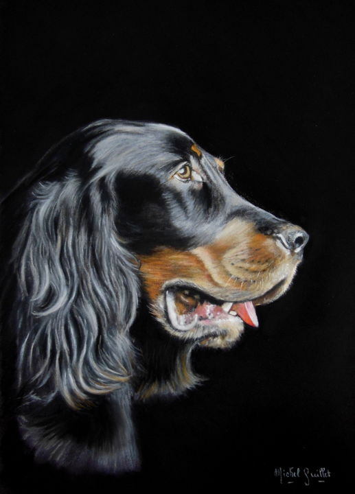 Setter Gordon - Drawing,  15.8x11.8 in, ©2014 by Michel Guillet -                                                                                                                                                                                                                                                                                                                                                                                                                                                      Figurative, figurative-594, Dogs, Setter, portrait animalier au pastel sec, Pastellistes de France, Talents aujourd'hui et demain, pastelliste animalier, david Strano
