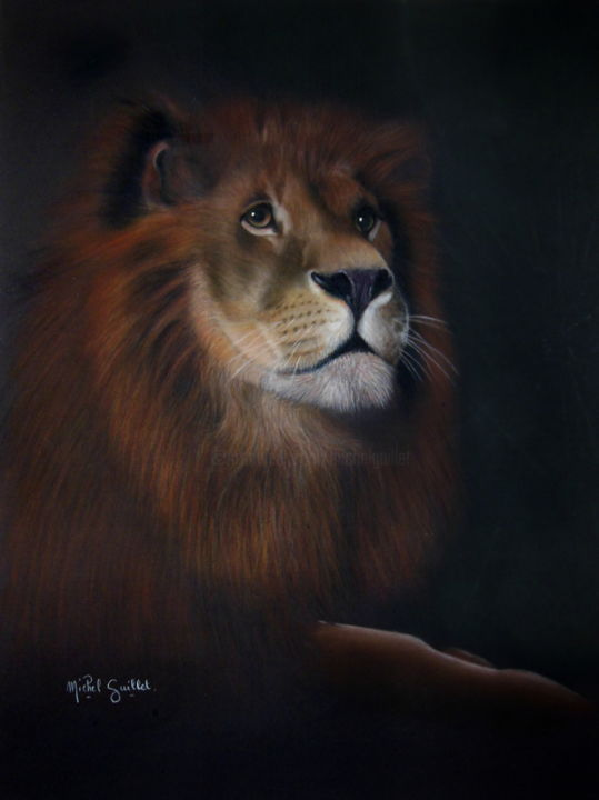 The king - ©  Lion, portrait animalier au pastel sec, pastelliste de France, talents aujourd'hui et demain, pastelliste animalier Online Artworks