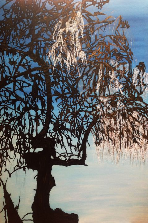 """Painting titled """"The Lady In The Tree"""" by Michelle Soden-Gilkes, Original Art, Acrylic"""