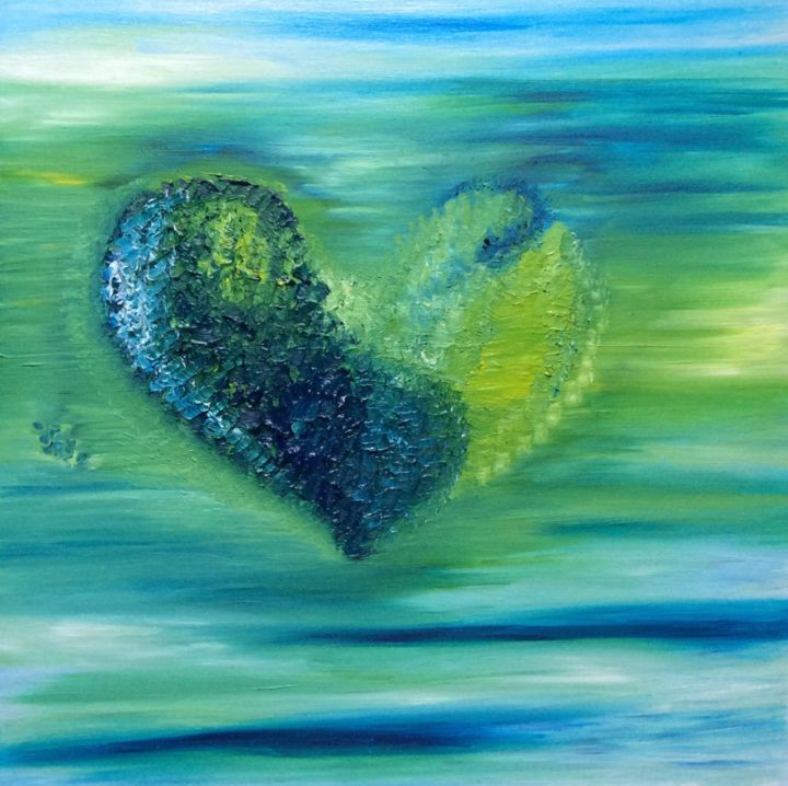 """Painting titled """"GreenHeart"""" by Michelle Soden-Gilkes, Original Art, Oil"""