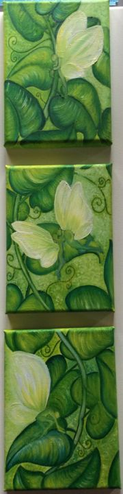 """Painting titled """"Pea Vine"""" by Michelle Soden-Gilkes, Original Art, Oil"""