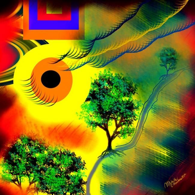 Energía solar - Drawing,  80x80 cm ©2012 by Michelle Chouchou -                            Colors, colores, amarillo, sol, naturaleza