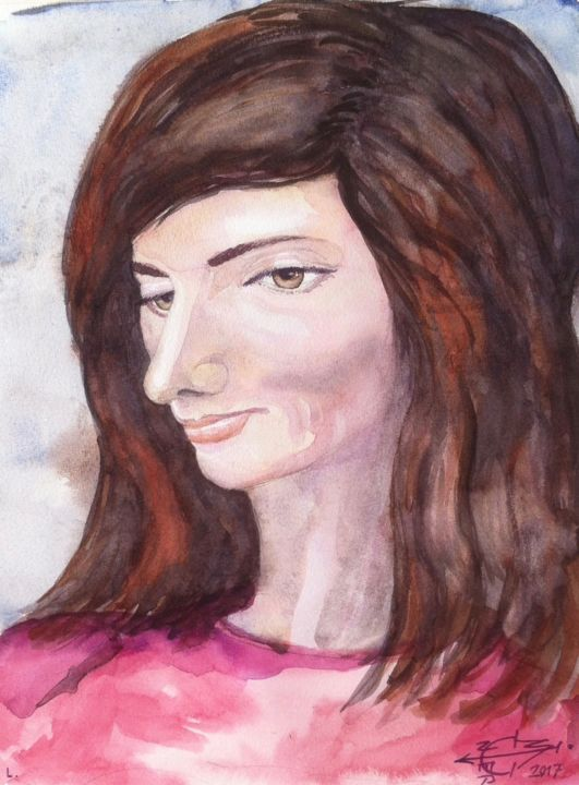 Lou - Painting,  32x25 cm ©2017 by Michel MUNIER -                                            Figurative Art, Women, portrait, Lou, visage, regard, femmes