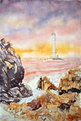 Le phare de Goury - Painting,  16.5x11.4 in, ©2011 by Michel Munier -                                                              phare de Goury