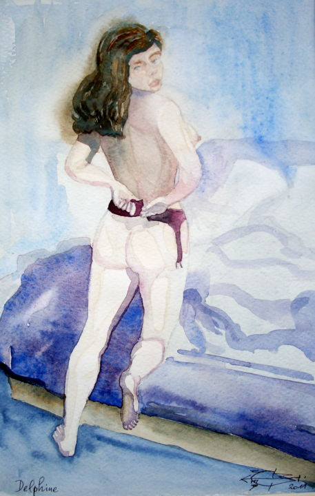Delphine - Painting,  30x21 cm ©2011 by Michel MUNIER -                            Nude, Delphine, surprise, intimité.