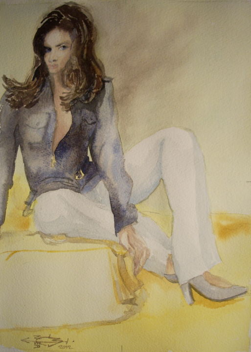 Edmée - ©  Femme, aquarelle, Arches, portrait Online Artworks