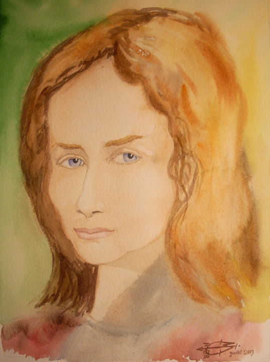 Lola - © 2013 aquarelle, portrait, Lola, femme, chatain clair Online Artworks