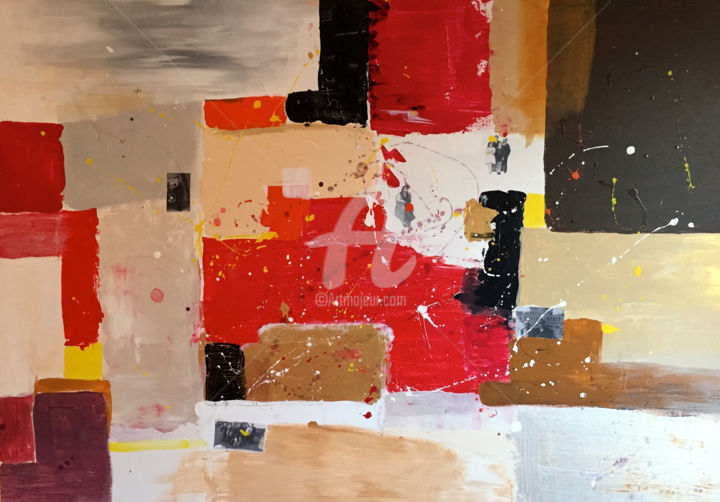 michmanzoni-maran.jpg - Painting,  23.6x39.4x0.8 in, ©2016 by Mich Manzoni -                                                                                                                                                                          Abstract, abstract-570, Family