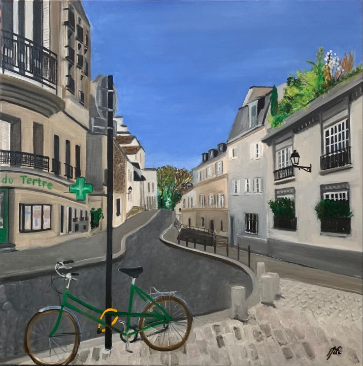 """Painting titled """"Rue Cortot - Montma…"""" by Marie France Garrigues, Original Art, Oil Mounted on Stretcher frame"""