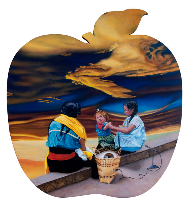 The Apple Of Discord - Painting,  100x90x0.25 cm ©2005 by Miggel Cano -                                        Surrealism, Politics
