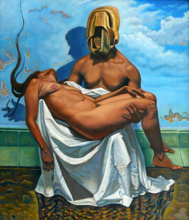 The Last Temptation - Painting,  35.4x30.3 in, ©2002 by Miggel Cano -                                                                                                                                                                          Surrealism, surrealism-627, Erotic