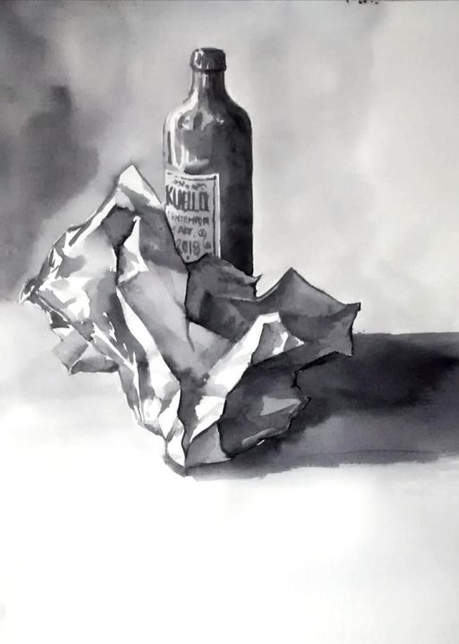 PAPER & BOTTLE - Drawing,  13x9.5 in, ©2018 by Miguel Esquivel Kuello -                                                                                                                                                                                                                                                                                                                                                                                                                                                                                                                                              Figurative, figurative-594, Still life, still life, nature morte, drawing ink paper and bottle, paper & bottle, paper bottle ink, paper bottle drawing, still life paper & bottle, paper & bottle Kuello