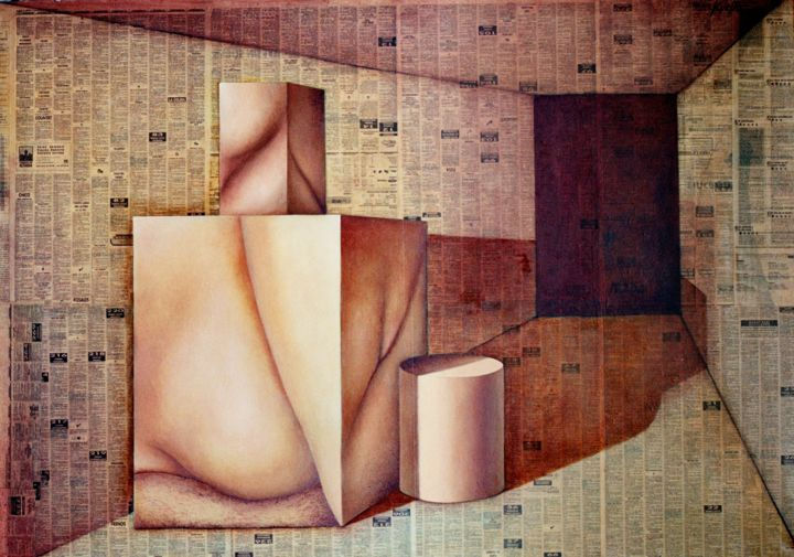 COLLAGE CON CUBO Y CILINDRO - Collages,  31.5x47.2x0.8 in, ©1998 by Miguel Esquivel Kuello -                                                                                                                                                                                                                                                                                                                                                                                                                                                                                                                                                                                                                                                                                                                                                                                                                                                                                                              Pop Art, pop-art-615, Erotic, Interiors, Nude, Still life, Time, erotic, nude, interiors, still life, nature morte, tima, bodegon, tiempo, collage, papel periodico, papers, newspaper