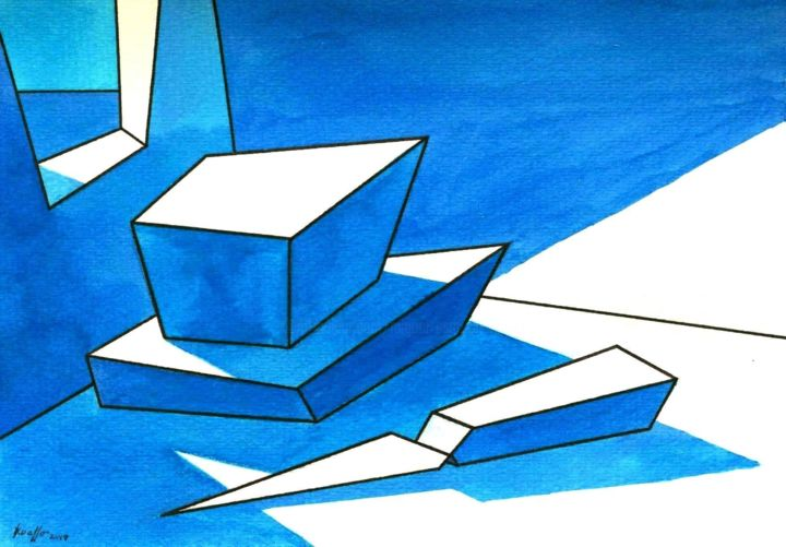 """Painting titled """"PLANCHE IN BLUE"""" by Miguel Esquivel Kuello, Original Art, Ink"""