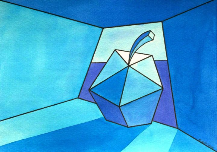 """Painting titled """"BLUE APPLE"""" by Miguel Esquivel Kuello, Original Art, Ink"""