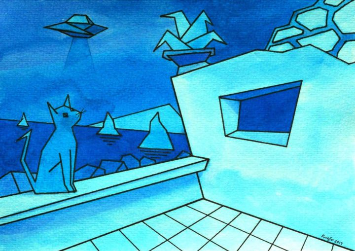 """Painting titled """"CAT AND BLUE MOON"""" by Miguel Esquivel Kuello, Original Art, Ink"""