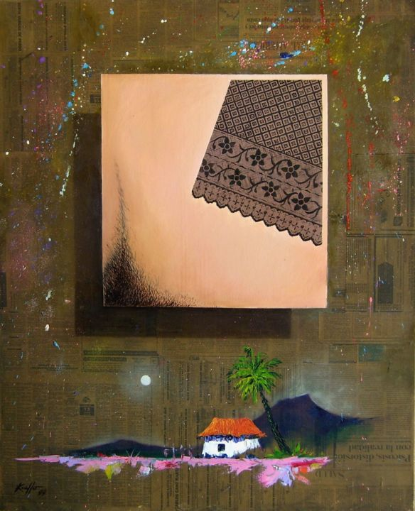 SQUARE - Collages,  33.1x1x40.9 in, ©2015 by Miguel Esquivel Kuello -                                                                                                                                                                                                                                                                                                                                                                                                                                                                                                                                                  Conceptual Art, conceptual-art-579, Paper, Fabric, Canvas, Nude, Landscape, collage, nu, erotic collage, nweapaper collage