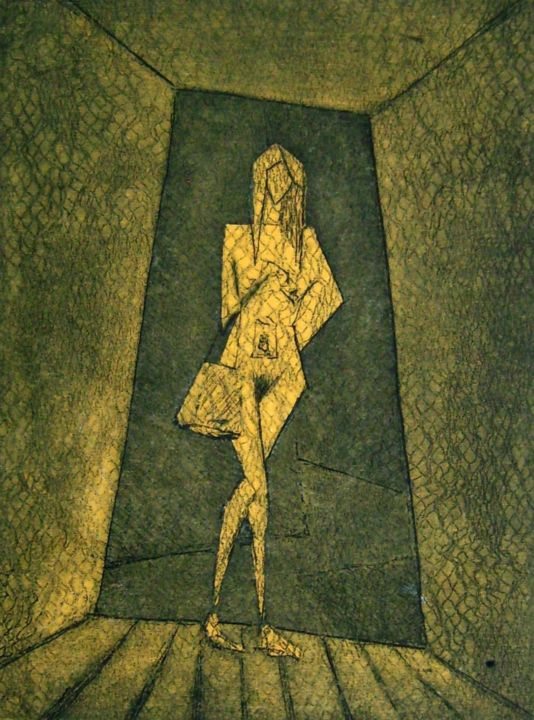 YELLOW WOMAN IN THE DOOR (4/5) - Printmaking,  19x15 cm ©2008 by Miguel Esquivel Kuello -                                                            Cubism, Paper, Nude, etching cubisme