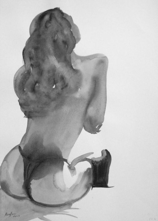 SEXY GIRL 2003 - Drawing,  18.9x14.2 in, ©2003 by Miguel Esquivel Kuello -                                                                                                                                                                                                                                                                                                                                                              Figurative, figurative-594, Nude, Drawings, erotics nude, eritics nude drawings, erotics drawings ink