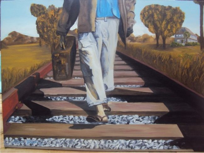 Painting,  70 x 50 cm ©2011 by Miguel Arthuro -  Painting, Academic Art, painting of a civil war refugee, walking with no destination on a railway, somewhere in the country.