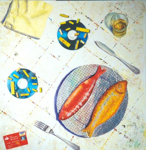 Fish and chips - Painting,  23.2x22.8 in ©2004 by Mi-guel -