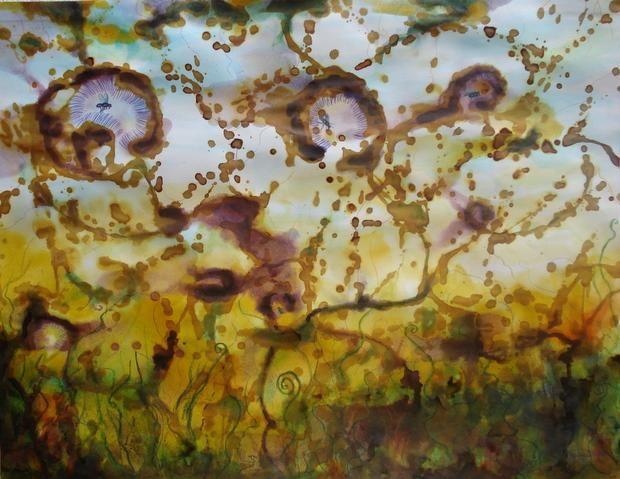 Libertad para las moscas - Painting,  19.7x25.6 in, ©2008 by Mi-guel -