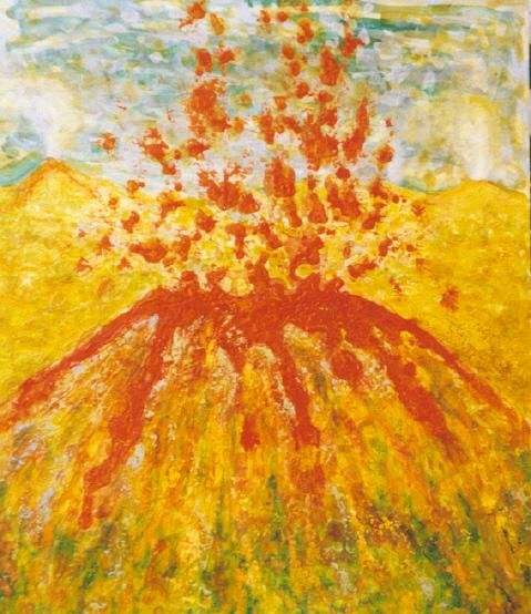 Volcán - Painting,  28x23.2 in, ©2004 by Mi-guel -