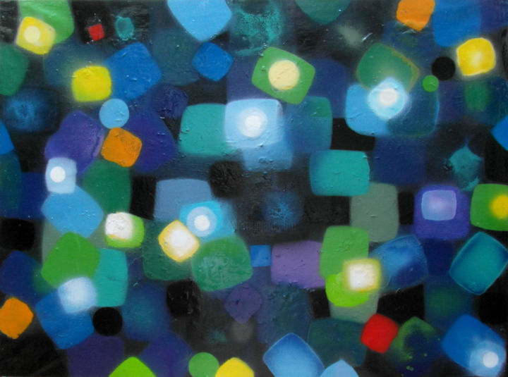 Le bleu et le vert - Painting,  54x2x73 cm ©2015 by Mi-guel -                                                        Abstract Art, Canvas, Abstract Art