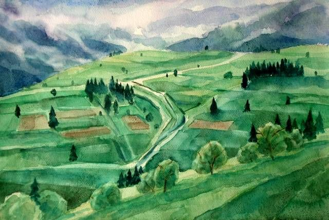 """Drawing titled """"Landscape from the…"""" by Mihaela Ivanova, Original Art,"""