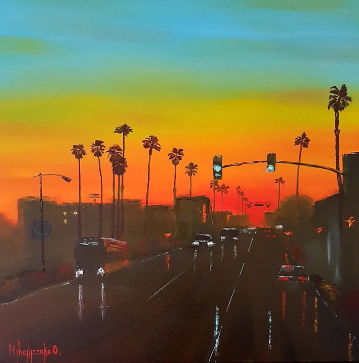 Sunset Silhouettes - Painting,  50x50x1.5 cm ©2018 by Olga Mihailicenko -                                                                                                                                                                                                Contemporary painting, Impressionism, Canvas, Architecture, Automobile, Car, Cities, Cityscape, Colors, Landscape, Light, Nature, Places, Travel, sell art, buy art, modern, contemporary, impressionism, original, fine art, home decor, free shipping, silhouettes, sunset sky painting, california painting, cars painting, urban painting, cityscape painting, palm tree painting, miami painting, nature painting, landscape painting, night road painting, night scene painting