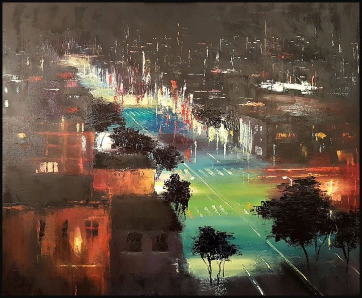 The Colours Of The Night - Painting,  50x60x1.5 cm ©2018 by Olga Mihailicenko -                                                                                                                                                                                    Contemporary painting, Expressionism, Figurative Art, Canvas, Architecture, Cities, Cityscape, Colors, Landscape, Light, Places, Travel, Tree, palette knife, oil painting, night city painting, cityscape painting, city lights, oil on canvas, city street painting, buildings painting, architecture painting, street scene painting, night scene painting, city oil painting