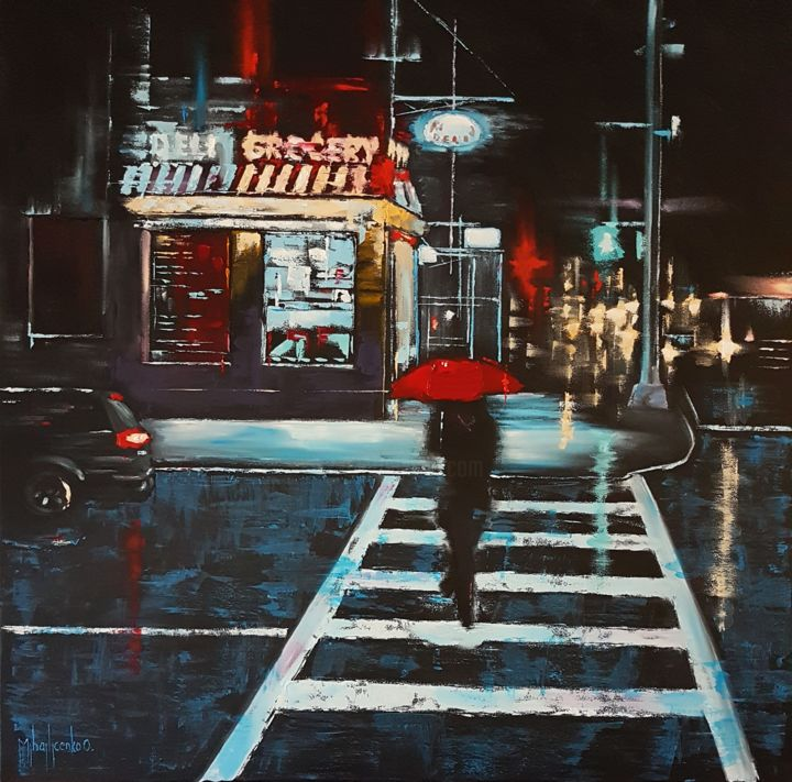 Deli & Grocery - Painting,  70x70x2 cm ©2018 by Olga Mihailicenko -                                                                                                                                                                                                Contemporary painting, Figurative Art, Impressionism, Realism, Canvas, Architecture, Automobile, Car, Cities, Cityscape, Landscape, Places, Seasons, Women, night city painting, cityscape oil painting, street scene painting, architecture painting, cars painting, buildings painting, palette knife painting, night city lights, free shipping, 70 cm, 27 inches
