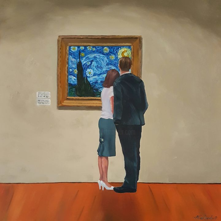 Looking At The Starry Night - Painting,  70x70x1.5 cm ©2019 by Olga Mihailicenko -                                                                                                                                                                        Contemporary painting, Figurative Art, Impressionism, Realism, Canvas, Family, Love / Romance, Men, People, Places, Wall, Women, 70x70 cm, at the museum, certificate of authenticity, couple in love, couple oil painting, people painting, romantic art, romantic painting, starry night, van gogh, lovers, looking at